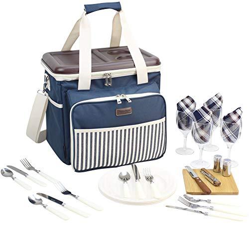 HappyPicnic Gevulde Picknick Cooler Tas voor 4 Personen, Picknick Tas met Hard Eva-gevormd Deksel Gebruikt als een Picknick Tafel (Navy Blue)