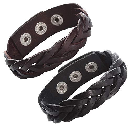 CCBFY Genuine Leather Bracelet Braided Sporty Wide Wristband Punk Jewelry for Men Women black
