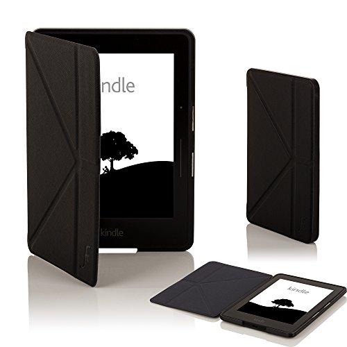 Forefront Cases Kindle Voyage Origami Funda Carcasa Caso Smart Case Cover - Ultra Delgado Ligera y Protección Completa del Dispositivo con Función Auto Sueño/Estela (Negro)