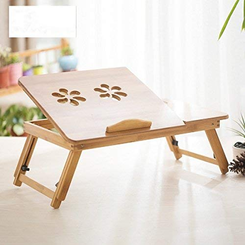 [Bamboo Portable Computer Table] Laptop Stand Foldable Portable Adjustable Notebook Table folding Computer Desk Bed Tray Laptop desk Stand for books, documents having breakfast in bed with Drawer