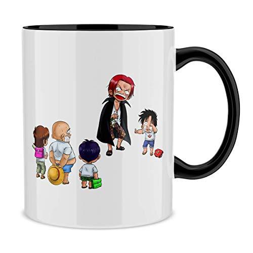 Okiwoki Mug avec Anse et intérieur de Couleur (Noir) - Parodie One Piece - Luffy et Shanks Le Roux - Traduction (Mug de qualité supérieure - imprimé en France)