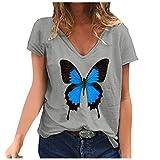 YANFANG Camiseta de Manga Corta con Estampado de Mariposa y Cuello en V Informal de Moda para Mujer MGray