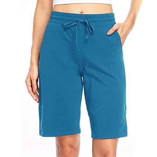 Zainafacai Women's Casual Shorts,Women's Comfot Cotton Elastic Waist Knee Length Bermuda Shorts with Drawstring Plus Size Sky Blue