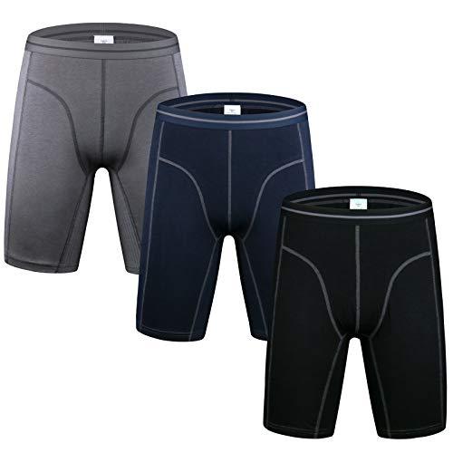 Nuofengkudu Herren Langes Bein Sport Boxershorts Männer Nahtlose Baumwolle Bequeme Unterhosen Bulge Unterwäsche Shorts(3er Pack) Grau/Blau/Schwarz Groß Größe 4XL
