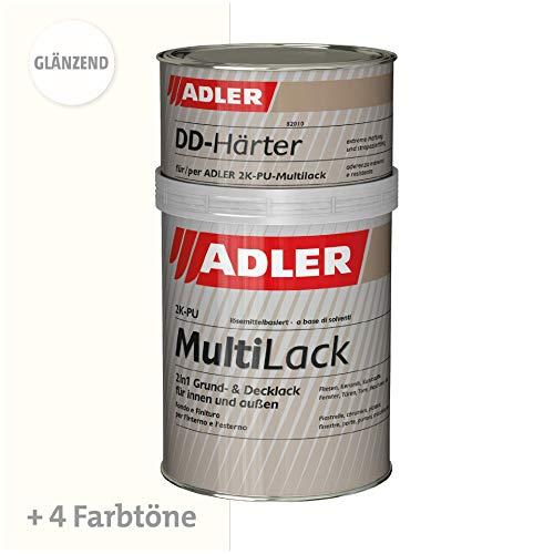 ADLER Fliesenlack glänzend RAL9001 Cremeweiß - 1kg inkl. Härter - Hochwertige Fliesenfarbe mit hervorragenden Hafteigenschaften für diverse Untergründe, Grund- und Decklack