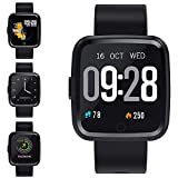 Zagzog Smart Watch Sleep Tracker 2 Days Weather Forecast 7 Sports Modes IP67 Waterproof with Message Reminders Heart Rate Pedometer Stopwatch Alarm iOS Android Watches for Men Women Boys Girls-Black