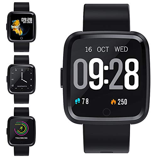 Zagzog Reloj Inteligente, Pulsera Inteligente con Pulsómetro Pulsera Actividad Impermeable Reloj Deportivo con Multiples Modos de Deporte Smartwatch Compatible con Moviles Android iOS