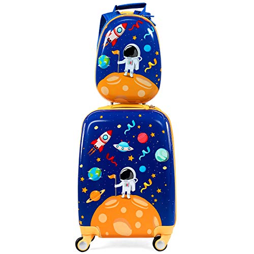 """COSTWAY 2tlg Kinderkoffer + Rucksack, Kindertrolley aus Kunststoff, Kindergepäck, Kinder Kofferset Handgepäck Reisegepäck Hartschalenkoffer für Jungen und Mädchen (Blau, 12\""""+18\'\')"""