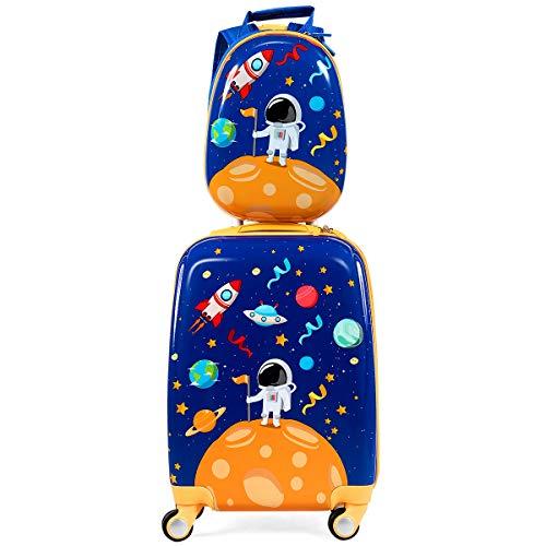 COSTWAY Kindergepäck Kindertrolley, Kinderkoffer mit Rucksack, Reisekoffer Jungen, Handgepäck Reisegepäck (Blau)