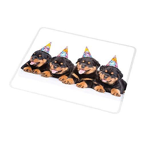 Office Mouse Pad Kinder Geburtstag, Rottweiler Welpen mit Party Kegel Hüte Süße Welpen Hunde Kunstdruck, Schwarz und Ringelblume für Frauen