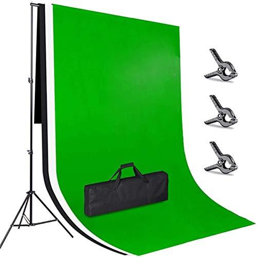 amzdeal 3×2m Hintergrund Ständer-Support-System, 3pcs 3×2m Waschbar Bügelbar Hintergrund Grün/Weiß/Schwarz Stativ Einstellbar von 65-200cm Hintergründe (3 * 2M)