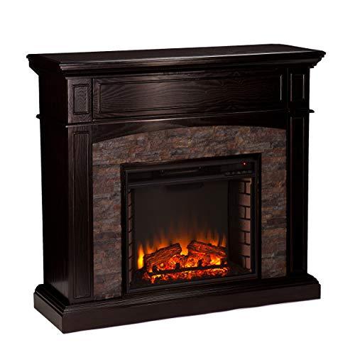 Southern Enterprises Grantham Faux Stone Corner Electric Media Fireplace, Ebony Finish