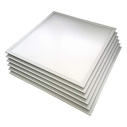 6x LED Panel, Deckenleuchte, 62x62cm, kaltweiß 6000K, 3000lm ultraslim, 36W, inkl. Trafo, für Systemdecken wie Odenwalddecke, Rasterleuchten, Einlegeleuchte, Büroleuchten [Energieklasse A+] (kaltweiß)