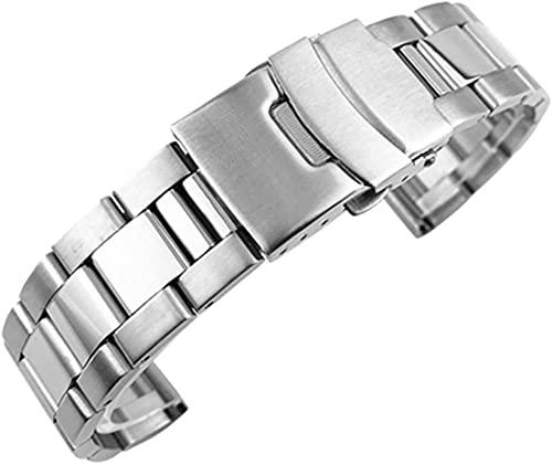 chenghuax Reloj Correa, Sólido 316L Correa de Acero Inoxidable Plata 18mm 20 mm 22 mm 24mm 26mm Correa de Metal Correa Reloj Pulsera (Color : Silver, Size : 20mm)