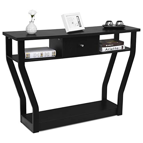 COSTWAY Mesa Consola Mesa de Salón con Cajón y Estantes Escritorio para Entrada Sala de Estar Dormitorio Oficina Negra