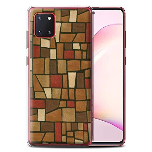 Stuff4 Gel TPU Telefoonhoesje voor Samsung Galaxy Note 10 Lite 2020 / Bruin/Rood Design/Mozaïek Tegels Collectie
