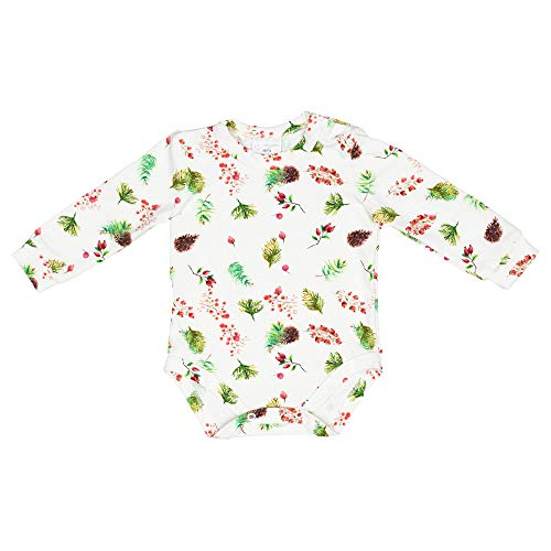 MISIOO - Body de manga larga con botones a presión, unisex, colores vivos claros, ropa para bebé, nacimiento, regalo para bebé, certificado Öko-Tex, algodón orgánico Pine Cones 9-18 Meses