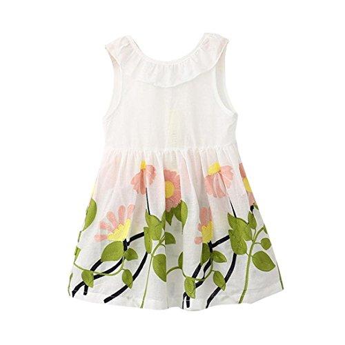Lazo para 2–7años de edad de niñas, deloito de princesas Pageant de Leigh Ann Tennant tutú vestidos de flores blanco blanco Talla:2-3 años
