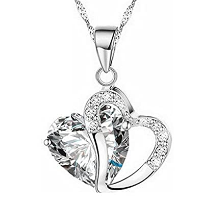 Women Heart Crystal Rhinestone Silver Chain Pendant Necklace Jewelry Price New Necklace Necklace