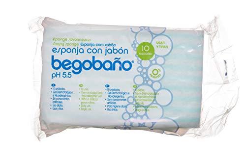 Begobaño Esponja Jabonosa De Un Solo Uso Con Gel Dermatológico E Hipoalergénico. Esponjas En Un Paquete,  Azul,  10 Unidad
