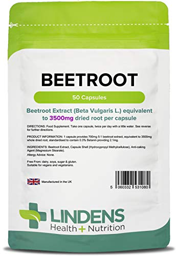 Lindens Beetroot Super Strength 3500mg Capsules - 50 Pack - A Source of Dietary nitrates in an Easy to Swallow, Rapid Release Capsule - UK Manufacturer, Letterbox Friendly
