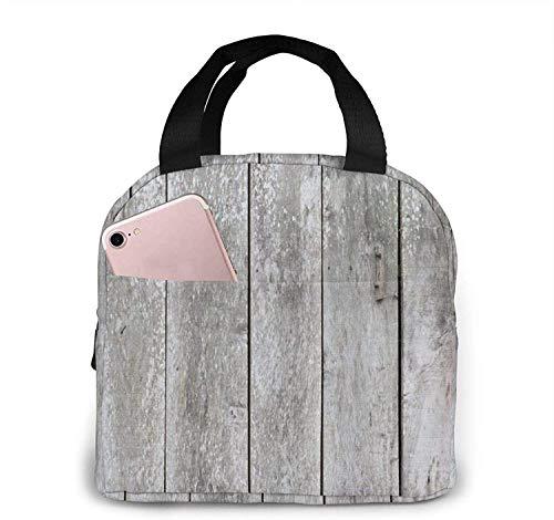 Bolsa de almuerzo de tablones grises vintage Bolsa de asas Caja de almuerzo Contenedor de almuerzo aislado para mujer Hombre