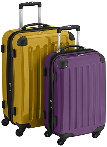 HAUPTSTADTKOFFER - Alex - 2er Koffer-Set Hartschale glänzend, 65 cm + 55 cm, 74 Liter + 42 Liter, Gelb-Aubergine