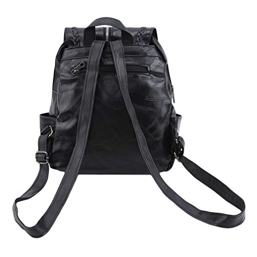 L_shop PU Casual Backpack Black Shoulder Soft Leather Travel Bag Tassel Zip Multi Pocket Twisted Braided Backpack