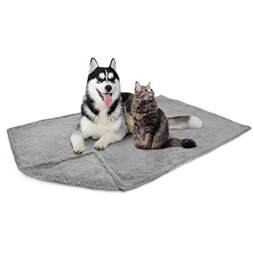 PetAmi Fluffy Waterproof Dog Blanket Fleece | Soft Warm Pet Fleece Throw for Large Dogs and Cats | Fuzzy Plush Sherpa Throw Furniture Protector Sofa Couch Bed (Light Grey, 60x80)