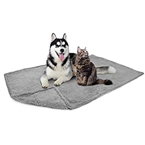 PetAmi Fluffy Waterproof Dog Blanket Fleece | Soft Warm Pet Fleece Throw for Large Dogs and Cats | Fuzzy Plush Sherpa Throw Furniture Protector Sofa Couch Bed (Light Grey, 60×80)