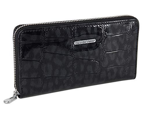 Damen-Geldbörse Portemonnaie Geldbeutel Brieftasche aus echtem und hochwertigem Leder in eleganter Hochglanz Kroko-Optik (Schwarz-Grau)