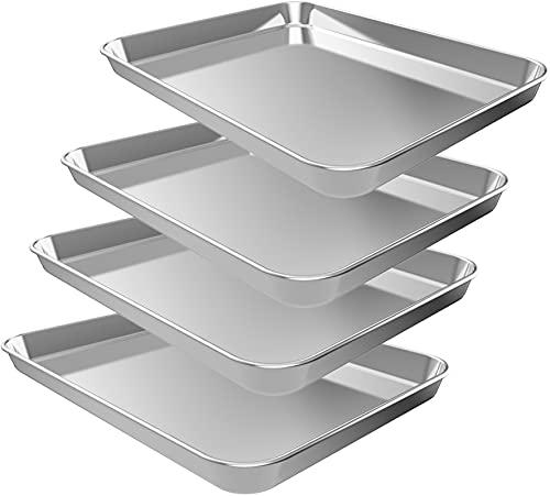 Baking Sheet Set, 4pcs Stainless Steel Cookie Sheet for Baking, Nonstick Baking Pans Set for Oven, Heavy Duty Quarter Sheet Pan Non Toxic, Rust Free, Mirror Finish, Dishwasher Safe (9 INCH)