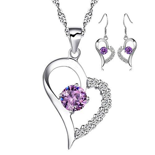 Conjunto Collar y Pendientes Corazón Abierto con Mitad Cubierta de Circonias Cúbicas y Piedra Púrpura Centro - De Plata de Ley