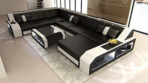 Sofa Dreams XXL Leder Wohnlandschaft Matera XXL mit LED
