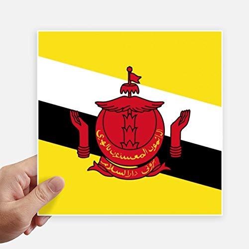 DIYthinker Drapeau National Brunei Asie Country Square Autocollants 20CM Mur Valise pour Ordinateur Portable Motobike Decal 4Pcs 20Cm X 20Cm Multicolor