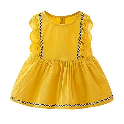 Julhold Infant Baby Mädchen Sommer Mode Sleeveless Lace Solid Print Rüschen Prinzessin Baumwolle Kleid Kleidung 0-2Jahre