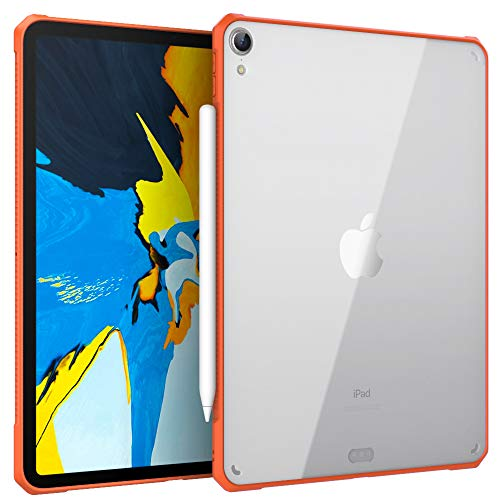 MoKo Case Fit iPad Pro 11' 2018 [Support Pencil 2 Charging Function] Flexible TPU Air-Pillow Edge Bumper Cushion Combines Ultra Slim Lightweight Transparent Hard PC Back Cover Shell - Orange
