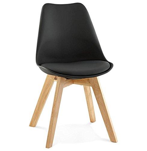 Chaise similicuir avec pied en chêne TYLIK (NOIR)