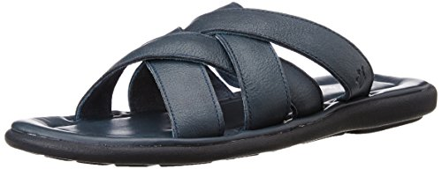 Louis Philippe Men's Navy Leather Sandals and Floaters - 8 UK/India (42 EU)