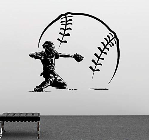 Tianpengyuanshuai baseball-speler met grote baseballvinylwanduitgang-slaapkamerkunst design sport-seriekorte broek
