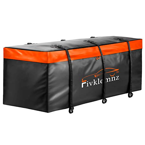 "FIVKLEMNZ Car Cargo Carrier Bag, 20 Cubic Feet Waterproof Hitch Tray Cargo Carrier with 6 Reinforced Straps Suitable for All Vehicle with Steel Cargo Basket (59"" 23"" 23"")"