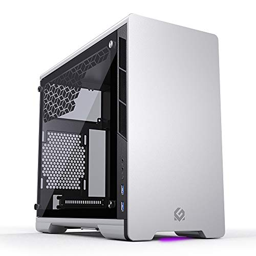 MTALLICGAR MetallicGear Neo Mini V2 Series Mini-ITX Case, Compact Chassis, Sand Blasted Aluminum, Tempered Glass Panel, Liquid Cooling Ready - Silver