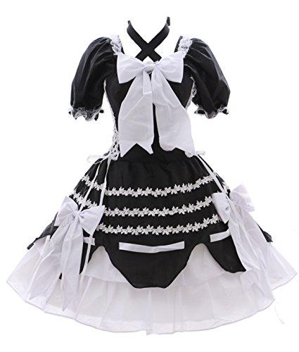 M-3101 - Vestido gótico de Lolita para cosplay, color blanco y negro, talla XL