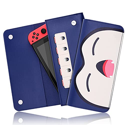 Ferkurn Switch Carrying Case, Protective Carry Cover Storage for N-Switch Console & Accessories,Ultra Slim Portable Travel Leather Case with 5 Game Card Holder & Clean Cloth - Blue