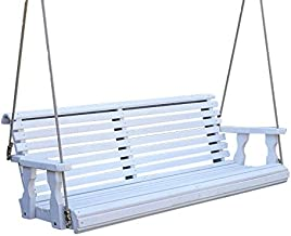 CAF Amish Heavy Duty 800 Lb Roll Back Treated Porch Swing with Hanging Ropes (5 Foot, Semi-Solid White Stain)