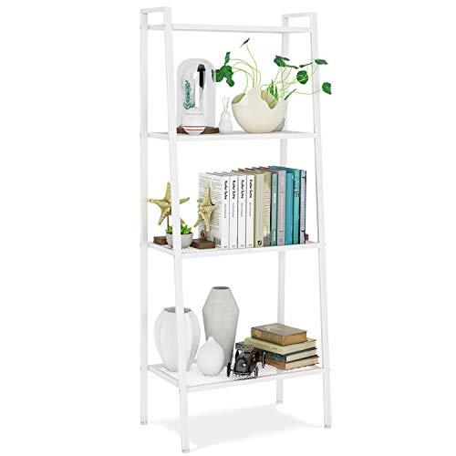 Homfa boekenkast metalen standaard plank ladder plank trap plank opbergrek badkamer plank stap plank plantenplank met 4 planken 60x35x147cm