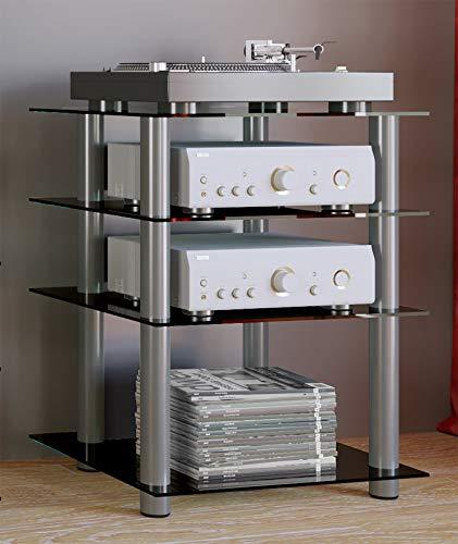 VCM 14105 Hifi Möbel Rack Phono Turm Medienrack Medienmöbel Regal Tisch Aluminium Glas Schwarzglas