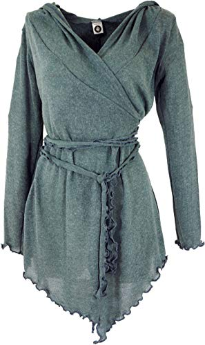 Guru-Shop Pixi Wickel-Strickjacke, Damen, Taubenblau, Baumwolle, Size:38, Jacken, Mäntel & Ponchos Alternative Bekleidung