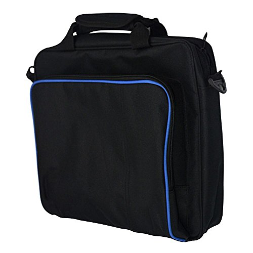 PlayStation Carrying Case, Sturdy Durable Portable Nylon Taffeta Travel Shoulder Bag Videogame Console Bag for PS4, PS4 Slim and PS4 Pro #81050 (Black-Large Size)