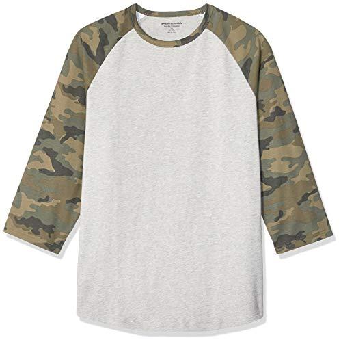 Amazon Essentials - T-shirt da baseball con maniche a 3/4, da uomo, vestibilità standard, Camo/Light Gray Heather, US L (EU L)